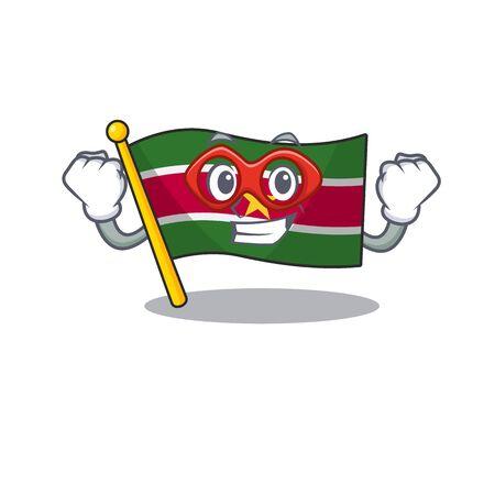 flag suriname character super hero with cartoon shape vector illustration