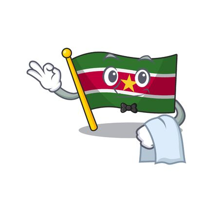 flag suriname waiter isolated in the mascot vector illustration