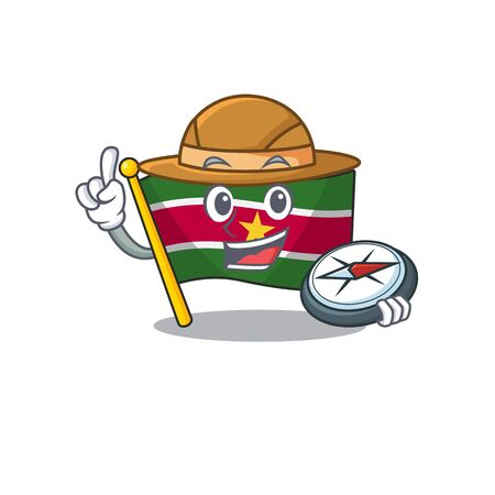 flag suriname isolated in the mascot holding compass vector illustration 일러스트