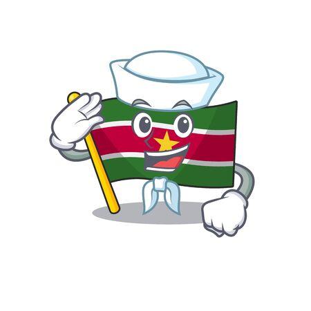 happy flag suriname with the sailor cartoon vector illustration