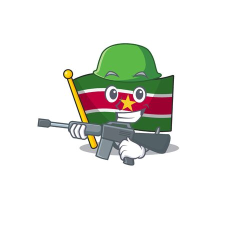 happy army flag suriname with the cartoon vector illustration Stock Illustratie