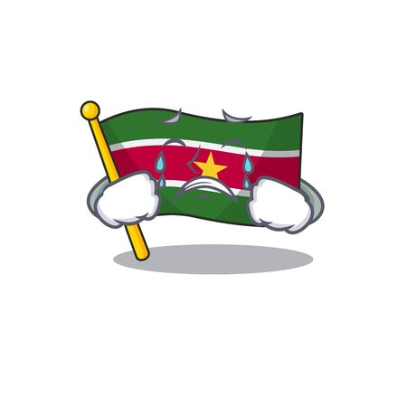 flag suriname isolated in the mascot crying vector illustration