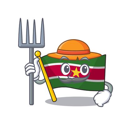 farmer happy flag suriname with the cartoon vector illustration Vectores