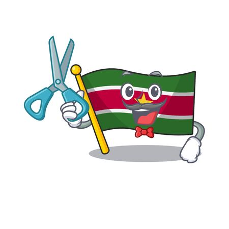happy flag suriname barber with the cartoon vector illustration Ilustrace