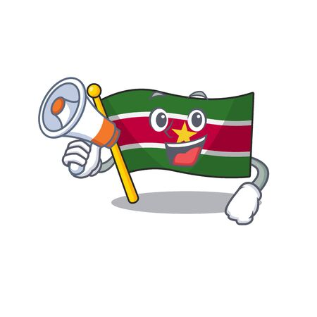 happy flag suriname with holding megaphone with the cartoon vector illustration