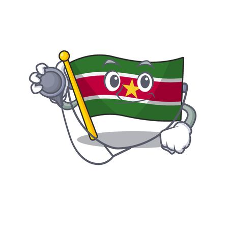 doctor happy flag suriname with the cartoon vector illustration