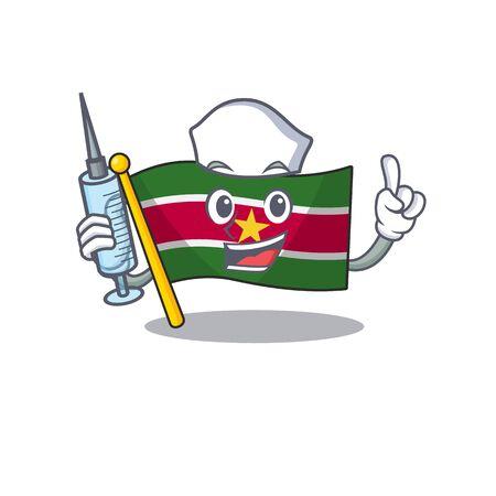 flag suriname character nurse with cartoon shape vector illustration