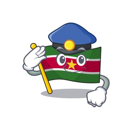 police happy flag suriname with the cartoon vector illustration