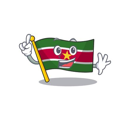 fingerflag suriname mascot on a pole vector illustration