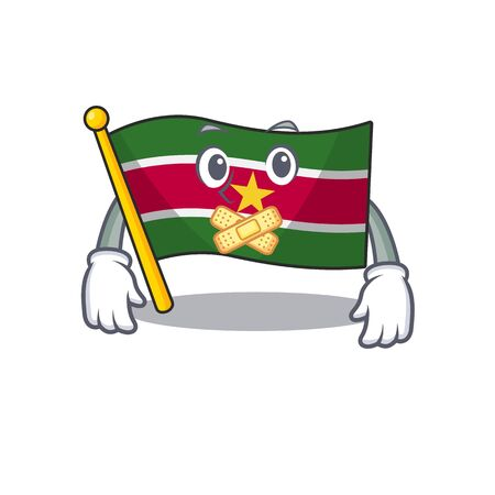 flag suriname mascot on a pole silent vector illustration