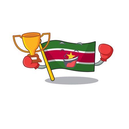 boxing winner flag suriname mascot on a pole vector illustration Stock Illustratie