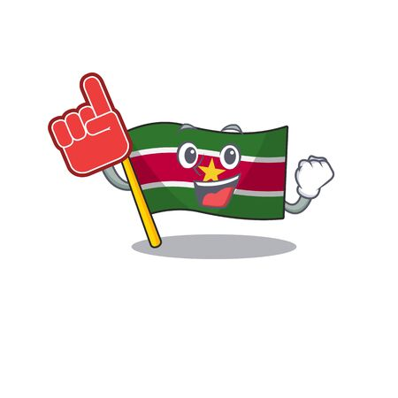 foam finger flag suriname mascot on a pole vector illustration Stock Illustratie