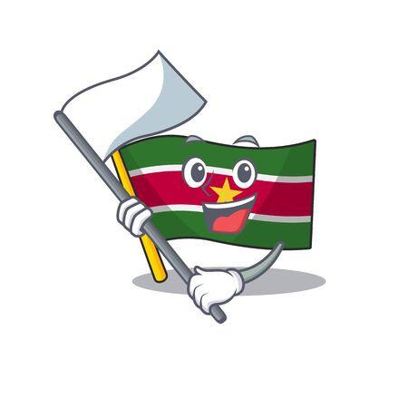 flag suriname mascot on a pole bring flag vector illustration