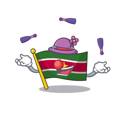 flag suriname mascot on a juggling pole vector illustration