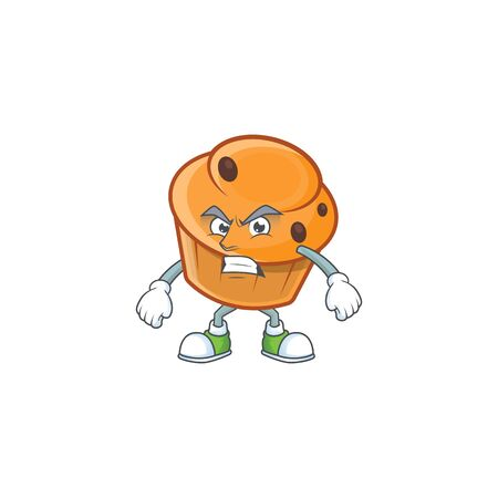 Cartoon brioche in the annoyed character shape.  イラスト・ベクター素材