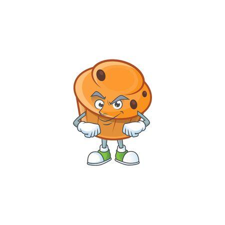 Cartoon brioche in the smirking character shape.  イラスト・ベクター素材