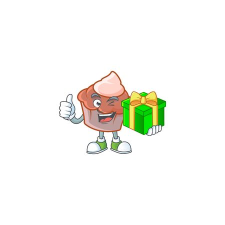 Brioche with cream with holding gift mascot on white background vector illustration