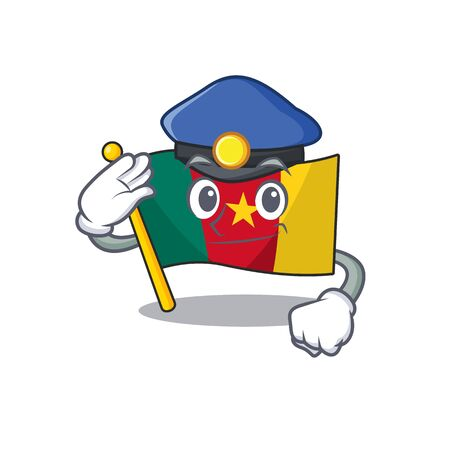flag cameroon cartoon in character shape police vector illustration