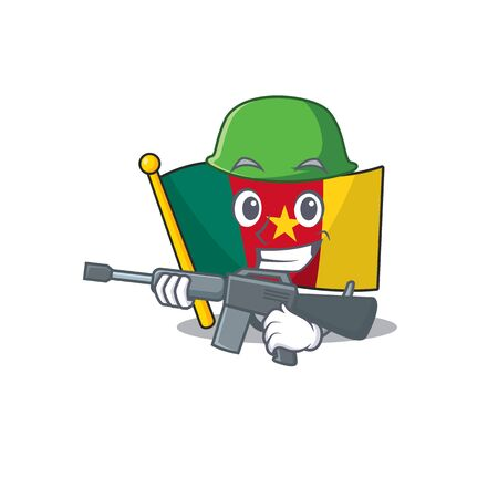 flag cameroon cartoon in character shape army vector illustration Vettoriali