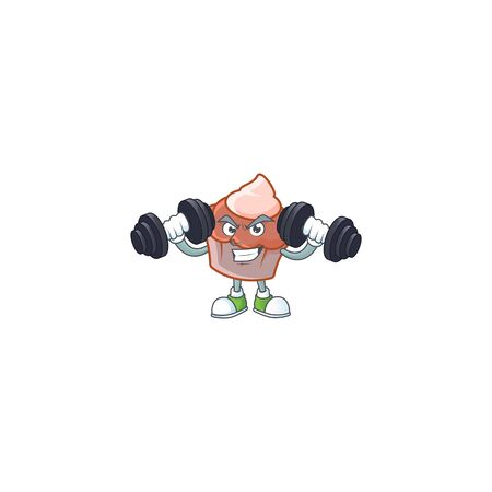 Cartoon brioche with cream with bring barbell character vector illustration