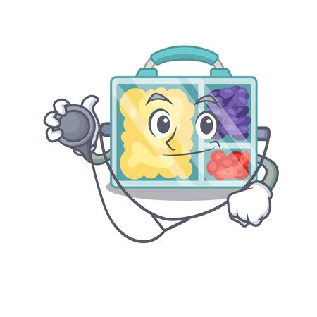 doctor lunch box cartoon with the character vector illustration
