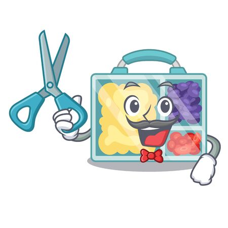lunch box cartoon with the barber character vector illustration Reklamní fotografie - 133346204