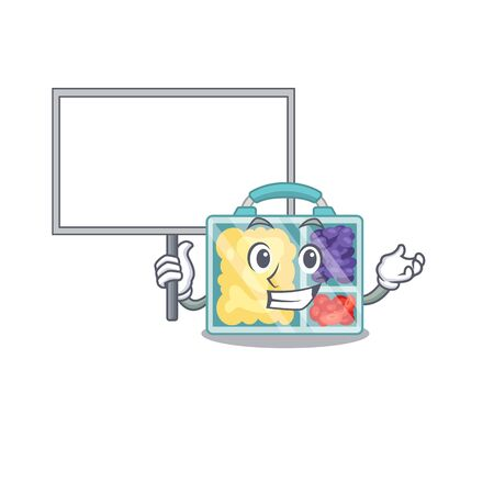 bring board lunch box cartoon with the character vector illustration Illustration
