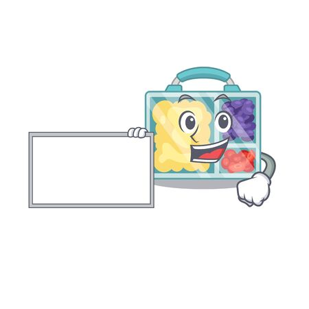 lunch box cartoon with board with the character vector illustration