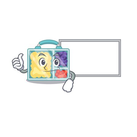 lunch box cartoon with the character thumbs up with board vector illustration