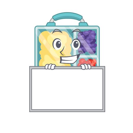 grinning with board lunch box cartoon with the character vector illustration