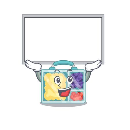 lunch box cartoon with board the character vector illustration