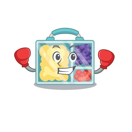 lunch box cartoon with the boxing character vector illustration Stock Illustratie