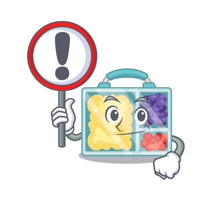 with sign warning lunch box cartoon with the character vector illustration