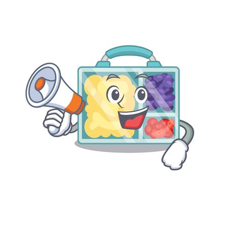 lunch box cartoon with the character with holding megaphone vector illustration