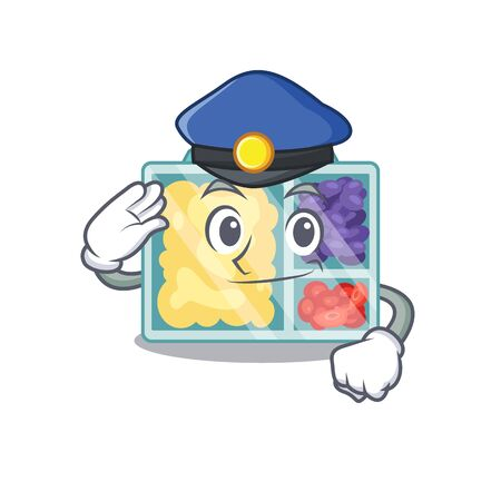 lunch box police cartoon with the character vector illustration Çizim