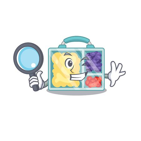 lunch box isolated with the mascot detective vector illustration Çizim