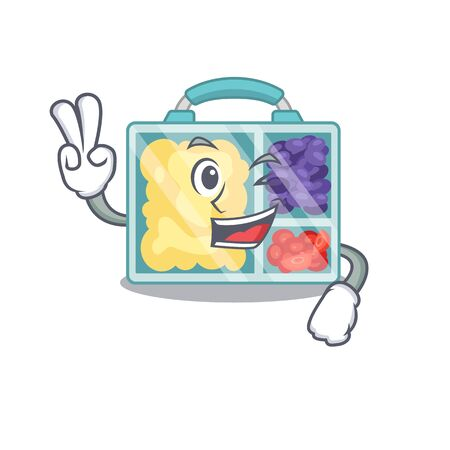 lunch box isolated two finger with the mascot vector illustration