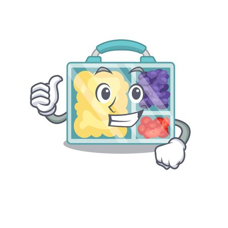 lunch box isolated with the mascot vector illustration thumbs up