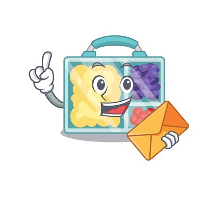 lunch box isolated with the bring envelope mascot vector illustration Ilustracja