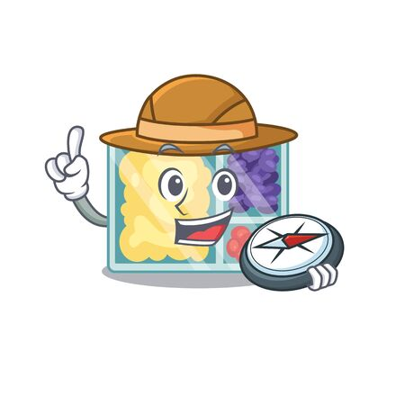 smiling lunch box character holding compass shape isolated. Vector illustration
