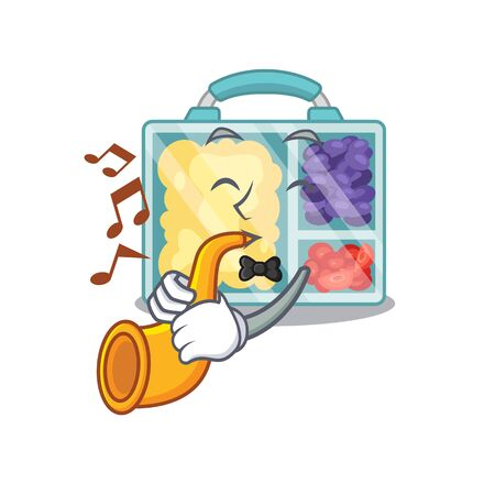 smiling lunch box character shape isolated with trumpet. Vector illustration