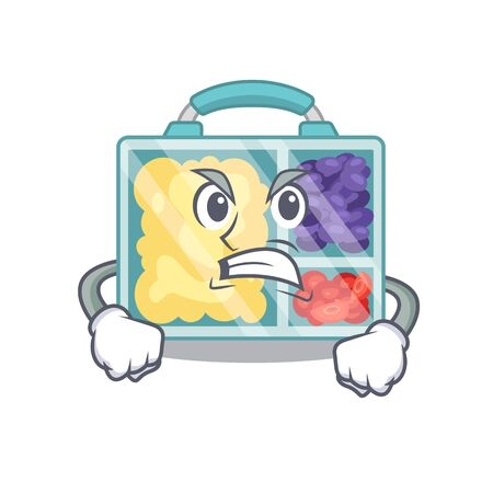 smiling lunch box character shape isolated angry. Vector illustration