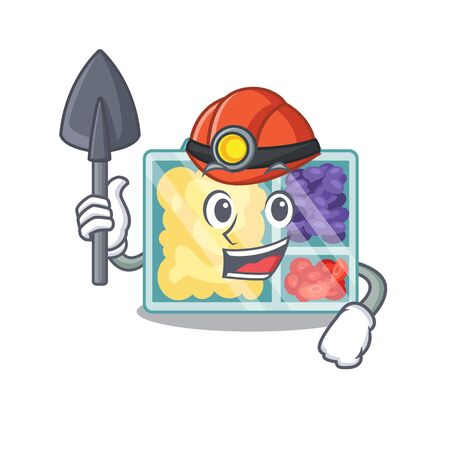 smiling lunch box character miner shape isolated. Vector illustration