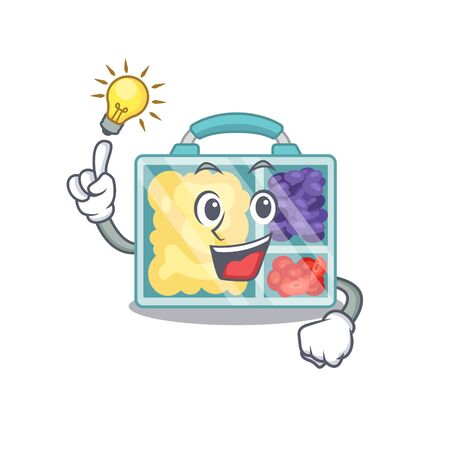 have an idea happy lunch box above character table.Vector illustration