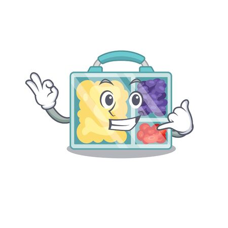 happy lunch box above character table.Vector illustration call me