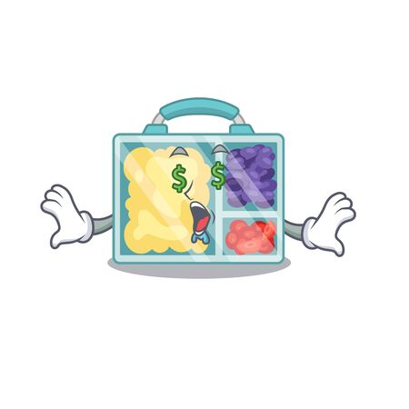 happy money eye lunch box above character table.Vector illustration