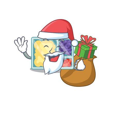 happy lunch box above character table santa bring gift.Vector illustration Imagens - 133346935