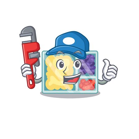 happy lunch box plumber above character table.Vector illustration