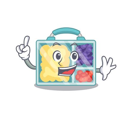finger happy lunch box above character table.Vector illustration Stock Illustratie