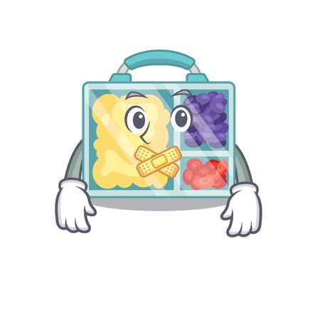 silent happy lunch box above character table.Vector illustration